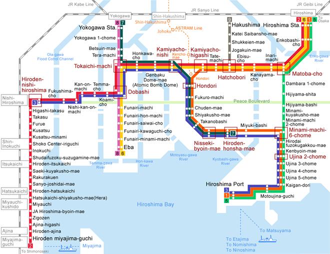 Plan du tramway de Hiroshima