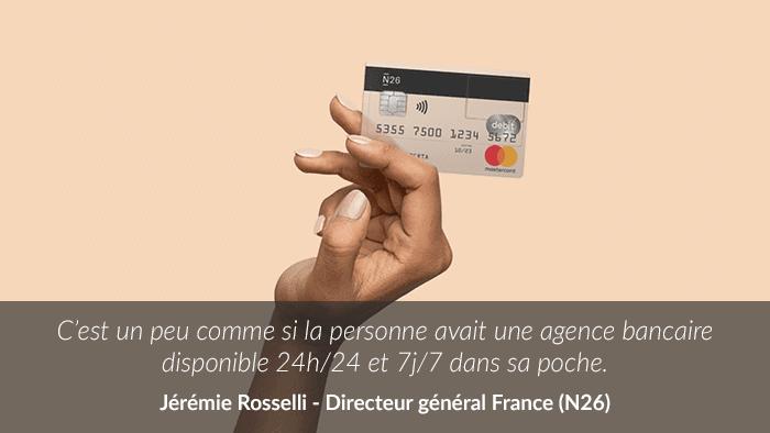 Photo d'une carte classique N26 avec une citation de Jérémie Rosselli, directeur général de N26 France