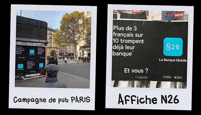 Affiches collés sur les murs de la campagne de publicité N26 à Paris en 2017