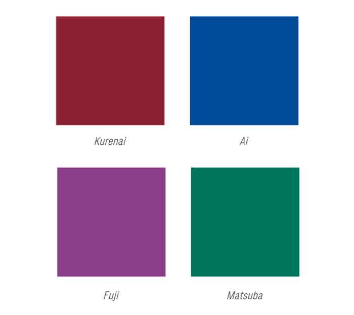 Jeu de couleurs utilisées pour la création des billets des Jeux Olympiques de Tokyo 2020