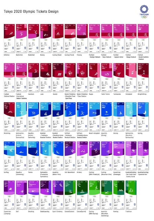 Design des billets d'entrée aux compétitions des Jeux Olympiques de Tokyo 2020