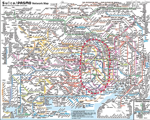 Plan des lignes de chemins de fer de la capitale japonaise et de sa région