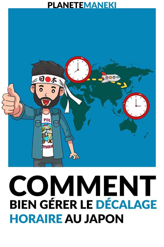 Illustration d'un avion qui va au Japon avec des horloges et un personnage qui lève le pouce en l'air